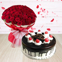 Exotic 50 Red Roses Arrangement with 1/2 Kg Black Forest Cake
