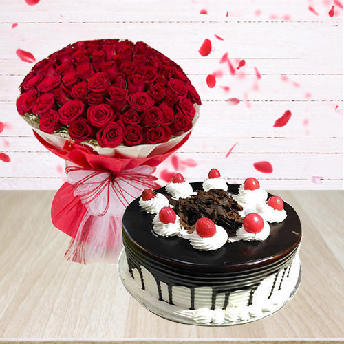 Buy Combo of Red Roses Basket with Black Forest Cake Online