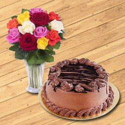 Glorious Mixed Roses in a Glass Vase with Chocolate Cake