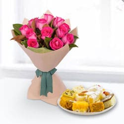 Gift of Pink Roses Bouquet with Mixed Sweets Box