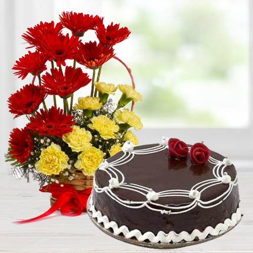 Gift Carnations N Gerberas Arrangement with Chocolate Cake Online