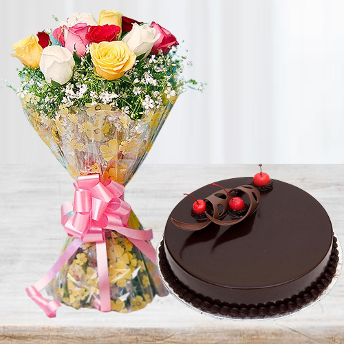 Order Online Mixed Roses with Chocolate Cake