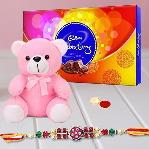 Rakhi,Lovely Celebration with Teddy and free Roli tika and Chawal