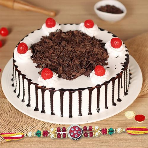 Fancy Beaded Rakhi with Yummy Cake