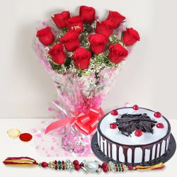 Beautiful Gift of Ambrosial Black Forest Cake accompanied with a Bunch of 12 Red Roses