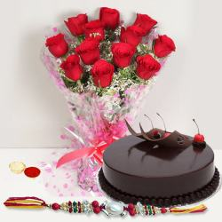 Fabulous Gift of Ambrosial Eggless Cake accompanied with Lovely Arrangement of 12 Red Roses