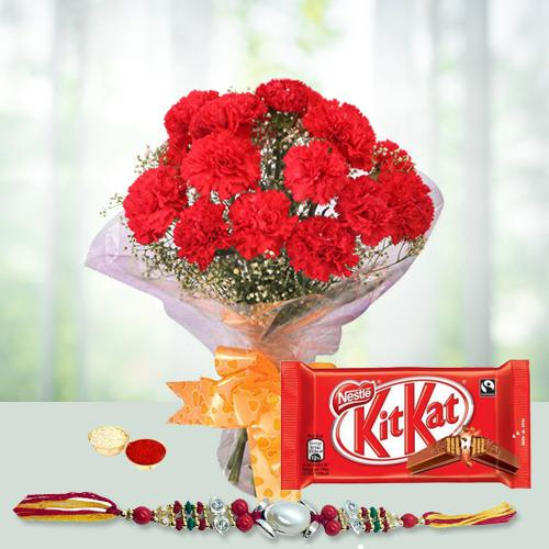 Feel-Better Gift of Cherished Bunch of 12 Red Carnations and Appetizing Kitkat Chocolate