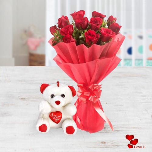 Send Bouquet of Red Roses N Teddy for Rose Day