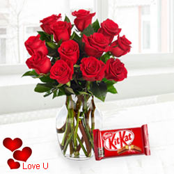 Exclusive <font color =#FF0000> Dutch Red </font>   Roses  in Vase with free Cadburys Chocolate