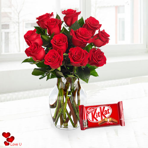 V-Day Gift of Red Roses in Vase with Cadbury Chocolates