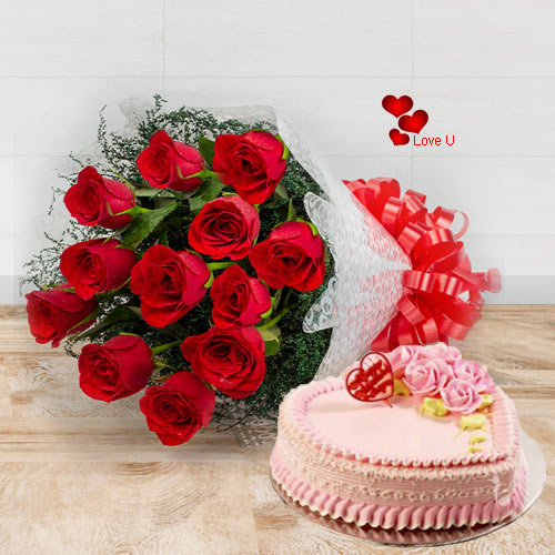 Bouquet of Red Roses N Heart Shape Cake for V-Day