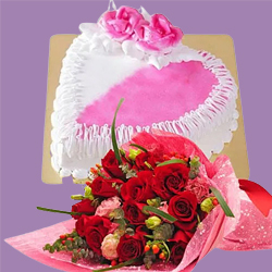 Gorgeous 12 Red Dutch Roses Bouquet with 1 Kg Heart Shaped Cake