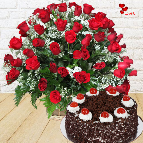 Rose Day Surprise of 100 Red Roses with Black Forest Cake