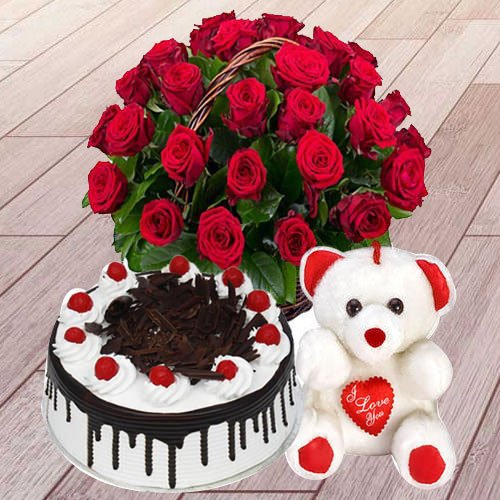 Deliver Online Red Roses Basket with Black Forest Cake N Teddy