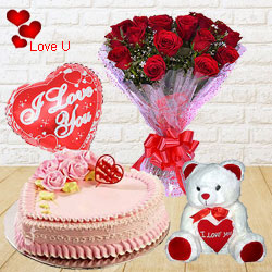 12 Exclusive <font color =#FF0000> Dutch Red </font>   Roses  Bunch with Cute Teddy Bear, Love Cake 1 Lb and  Heart Shaped Balloons