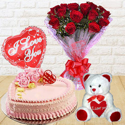 Amazing 12 Dutch Red Roses Bunch with Teddy Bear, 1 Lb Love Cake and Heart Shaped Balloons