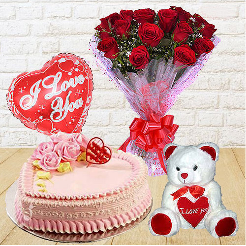 Online Red Roses Bunch with Teddy, Love Cake N Balloons