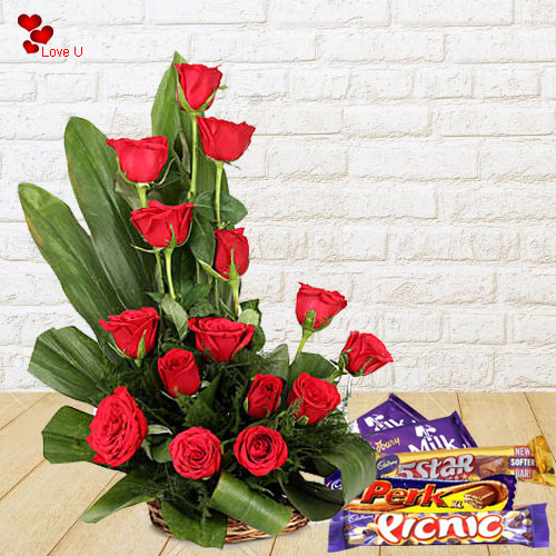 Order Online Red Roses with Assorted Cadbury Chocolates