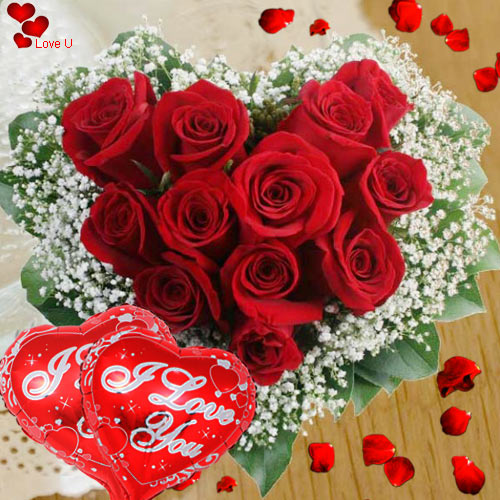 Buy Heart Shape Red Roses Arrangement N Balloons Online