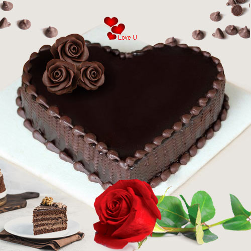 Deliver Love Shape Chocolate Cake N Single Red Rose Online
