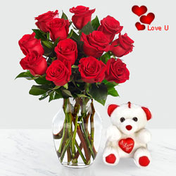 12 Dutch Red Roses in Vase with a Cute Teddy Bear