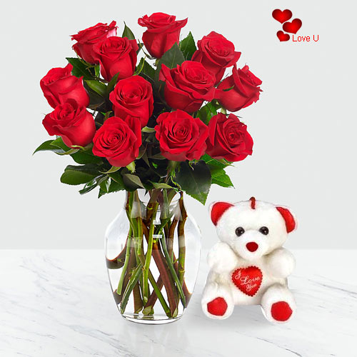 V-Day Gift of Red Roses in a Vase with Cute Teddy