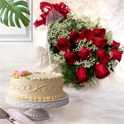 Dazzling Red Roses Bunch with Eggless Cake