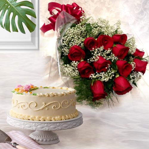 Shop Red Roses Bouquet with Eggless Cake Online