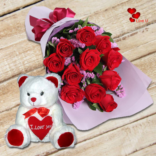 Order Combo of Red Roses N Teddy Bear for Teddy Day