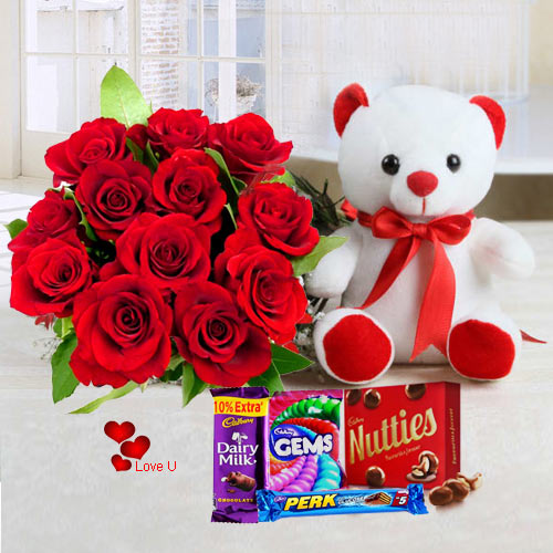 Send Bouquet of Red Roses, Teddy N Chocolates for V-Day