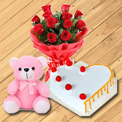 Generous Red Roses Bouquet with Teddy Bear and Heart Shaped Cake