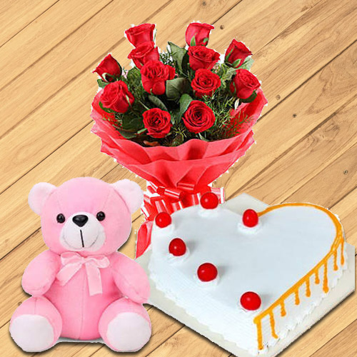 Buy Online Red Roses with Teddy N Heart-Shaped Cake