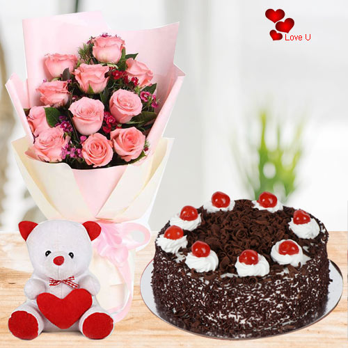 Send Combo of Pink Roses, Teddy N Cake Online