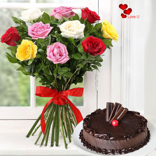 Mixed Roses N Cake Combo for Valenrtines Day