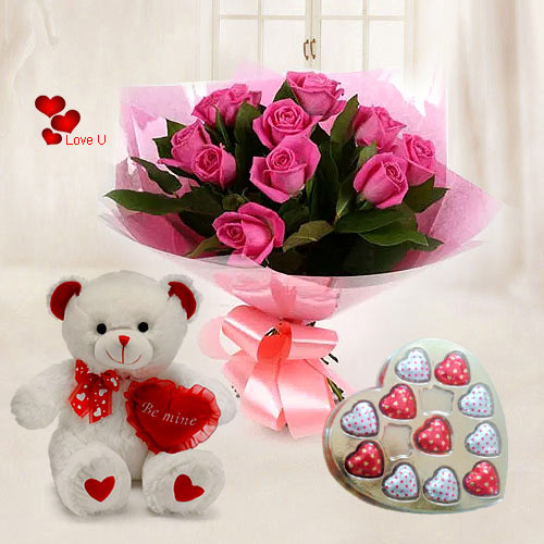 Shop Online for Pink Roses with Heart Shape Chocolates N Teddy