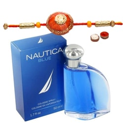 Showy Rakhi with Fragrant Nautica Blue EDT Perfume