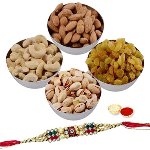 Auspicious Festive Rakhi with Fruits and Nuts