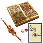Fantastic Assorted Dry Fruits with A Decorative free Rakhi, Roli Tilak and Chawal