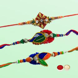 Amazing Three Premium Fancy Diamond Kundan Rakhi