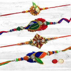 Attractive 4 Premium Fancy Diamond Kundan Rakhi