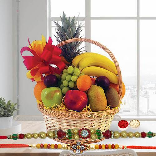 Fresh Fruit Basket 2 Kg with Free 2 Rakhis and Roli Tilak Chawal