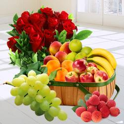 Premium Fresh Fruits Gift Basket with Re