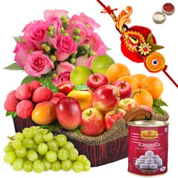 Basket Hamper of Fresh Fruits and Rose Bouquet with 1 Regular Rakhi and Roli Tilak Chawal