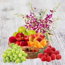 Nourishing Fresh Fruits Delight Decorated Basket