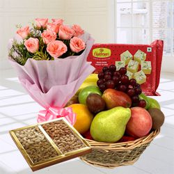 Tantalizing Fresh Fruits-Haldiram Soan Papdi Basket Hamper with Rose Bouquet