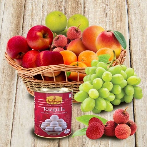 Basket of Assorted Fresh Fruits with Haldiram Rasgulla for Mummy