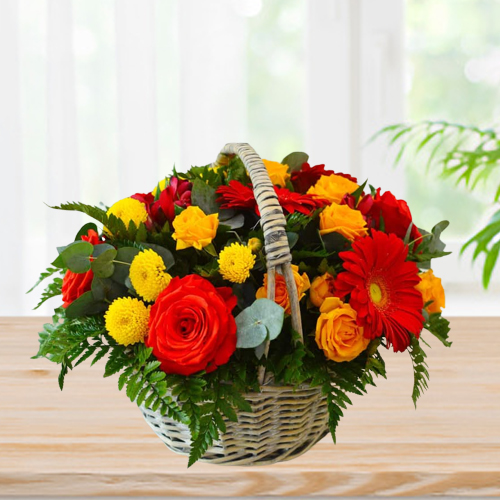 Luxurious Basket of Colorful Flowers