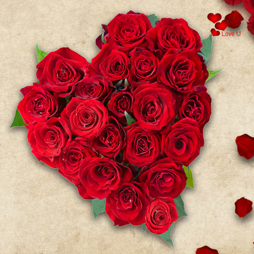 Rose Day Gift of Heart Shape Red Roses Arrangement