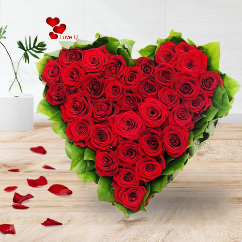Buy Red Roses Heart Bouquet for Rose Day