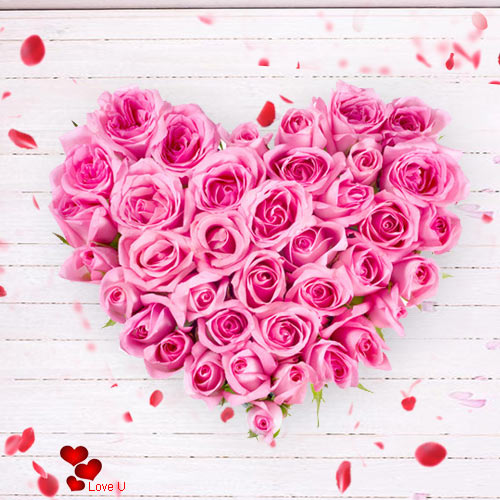 Deliver Heart Shape Arrangement of Pink Roses for Rose Day